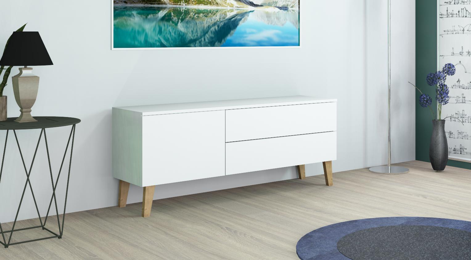 kommode rova dlx 1 sideboard anrichte schubk sten wei hochglanz modern eiche ebay. Black Bedroom Furniture Sets. Home Design Ideas